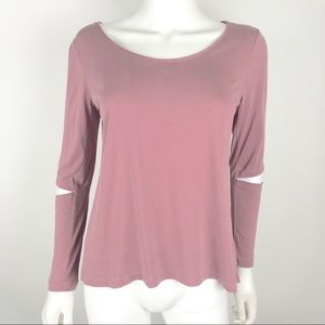 Drew XS Cut Out Long Sleeve Shirt Blouse Muave Top